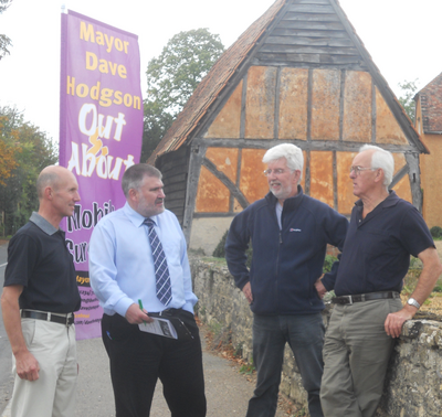Mayor Dave Hodgson talks to local residents during the 2012 Village Tour