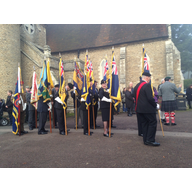 Standard Bearers at the Scots Society of St Andrew, Bedford, Remembrance Service at Bedford Cemetery