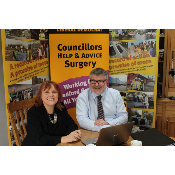 Mayor Dave Hodgson with Liberal Democrat candidate for Bedfordshire Police and Crime Commissioner Linda Jack
