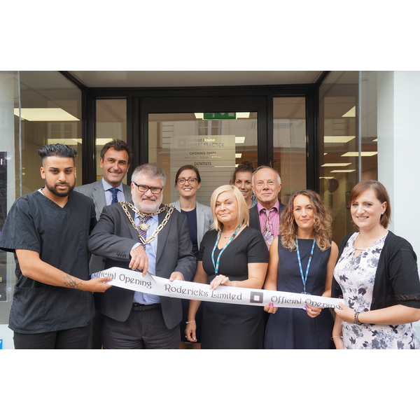 Mayor Dave Hodgson Cuts the Ribbon at the Opening of the Bedford House Dental Practice