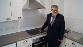Mayor Dave Hodgson in a kitchen at Clarence House