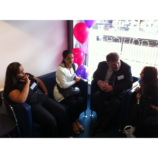 Mayor Dave Hodgson talks to residents who have received help and support at the new Bedford Borough Jobs Hub