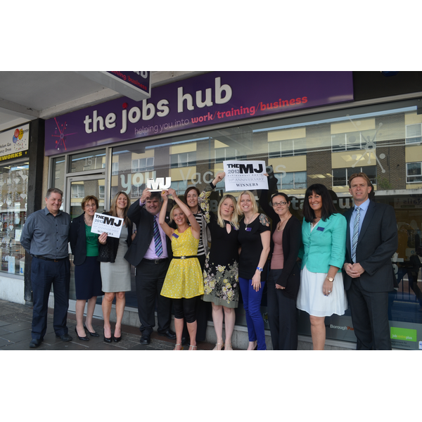 Mayor Dave Hodgson and Jobs Hub Staff celebrate the 2013 Municpal Journal Award for 'Delivering Better Outcomes'