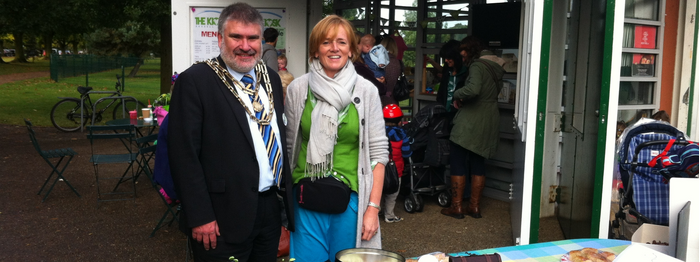Dave Hodgson with Emma Garrett of Kiosk at the Park during Macmillan Coffee Morning
