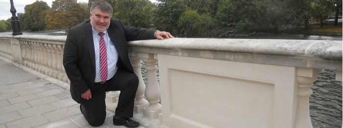 Dave Hodgson with the historic balustrades on the embankment in Bedford