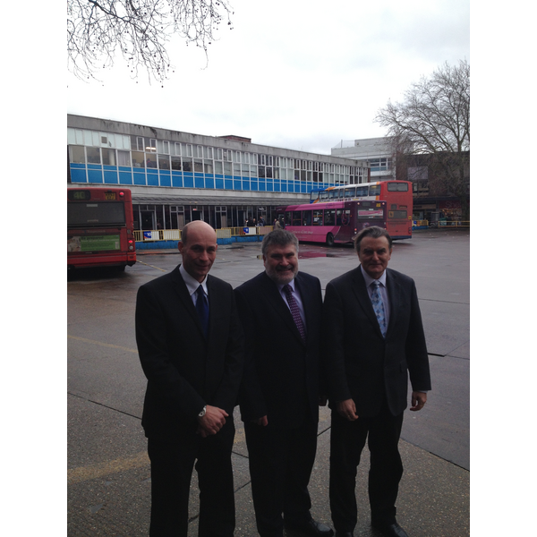 Grant Palmer, Dave Hodgson and Andy Campbell of Stagecoach at Bedford Bus Station Prior to Demolition