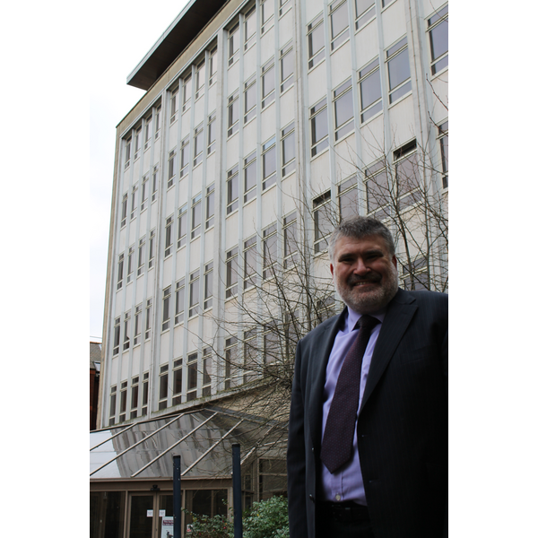Mayor Dave Hodgson Outside Bedford Town Hall Office Block