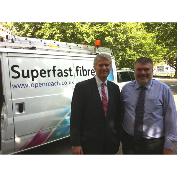 Dve Hodgson with Bill Murphy of BT following the signing of the contract to deliver the local broadband plan