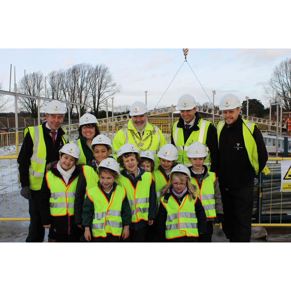 Mayor Dave Hodgson with Kempston Rural School Head Teacher Angela Stanbridge, Pupils and Representatives of Wilmott Dixon, Marking Start of Construction Phase of New School Site
