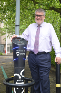 Mayor Dave Hodgson with an Electric Vehicle Charging Point