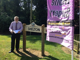 Mayor Dave Hodgson With Shelton Village Sign