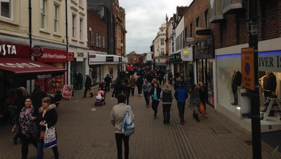 Silver Street in Bedford Town Centre on a Busy Shopping Day