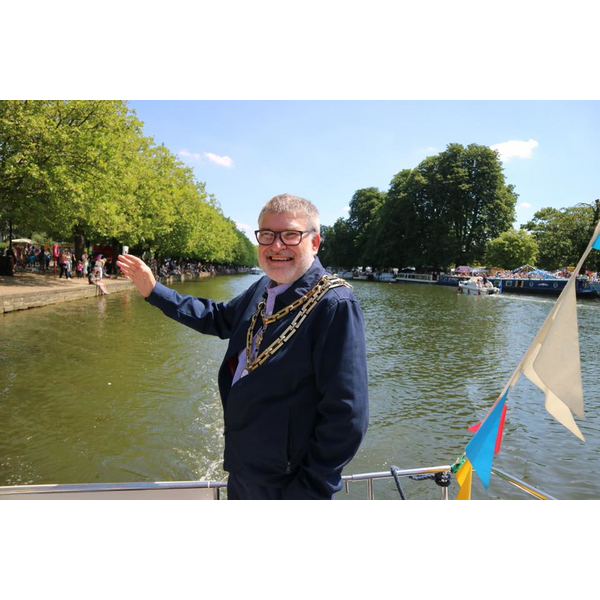 Mayor Dave Hodgson on the water at the Bedford River Festival