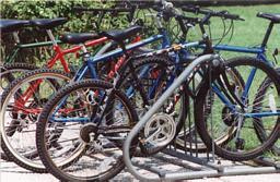 Bicycles in bike rack.