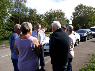 Mayor Dave Hodgson talks to residents during his summer Village Tour