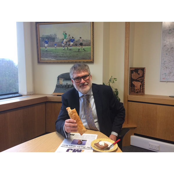 Mayor Dave Hodgson with his Bedfordshire Day Lunch of a Bedfordshire Clanger and Piece of Chocoalate Toothpaste