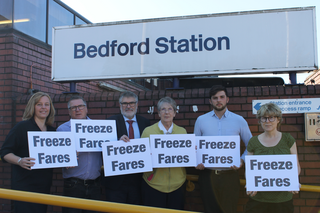 Liberal Democrat Campaigners Launch the Freeze Fares Campaign at Bedford Station