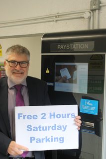 Mayor Dave Hodgson Promotes the Free Parking Deal for Bedford