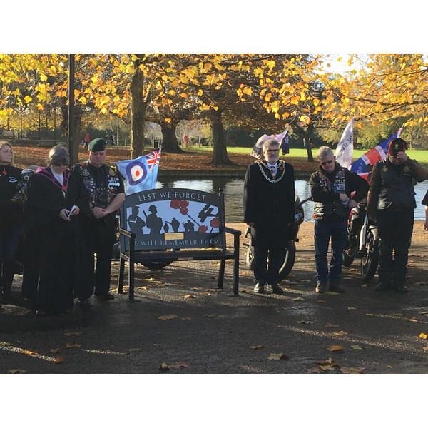 Mayor Dave Hodgson Alongside Members of the Riders Branch of the Royal British Legion at the Service of Dedication for the Memorial Bench on the Embankment, Bedford