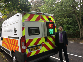 Mayor Dave Hodgson with Bedford Borough Council's Community Speedwatch Vehicle