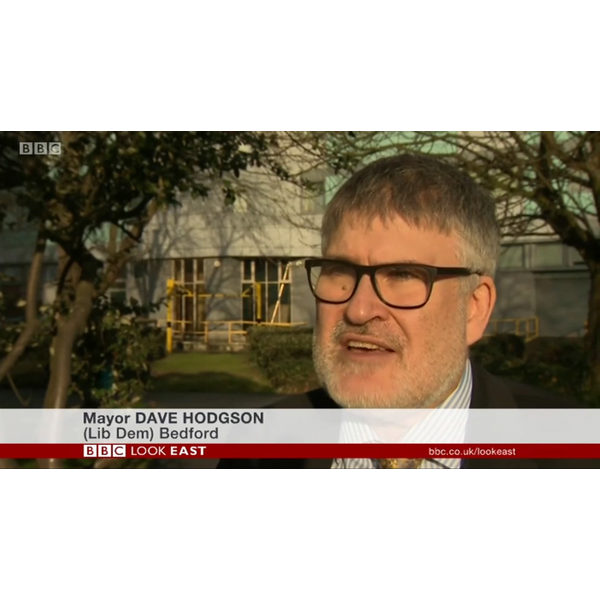 Mayor Dave Hodgson Being Interviewed on BBC TV