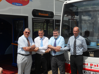 Mayor Dave Hodgson marks the launch of new bus services in both rural and urban Bedford Borough with Godfrey Willis of BABUS, Andy Campbell of Stagecoach and Grant Palmer
