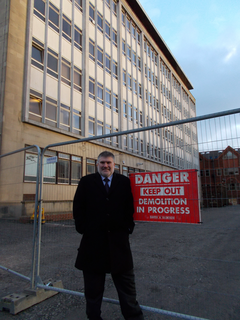 Mayor Dave Hodgson outside the Town Hall office block following commencement of demolition works