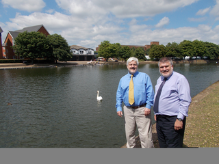 Deputy Mayor Cllr Charles Royden and Mayor Dave Hodgson in front of the location of the planned new Bedford Town Centre bridge
