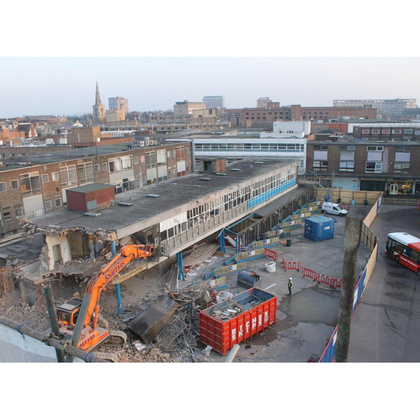 An image taken from the webcam trained on the Bedford Bus Station Redevelopment Works
