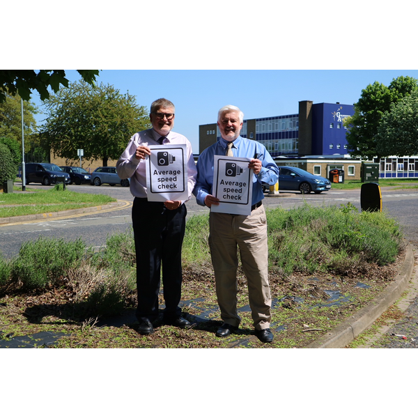 Mayor Dave Hodgson and Cllr Charles Royden with Average Speed Camera Signs