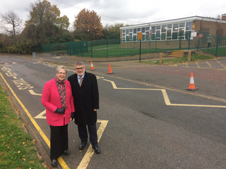Mayor Dave Hodgson and Cllr Wendy Rider outside Scott Primary School