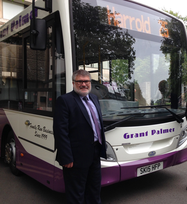 Mayor Dave Hodgson with a Grant Palmer Bus