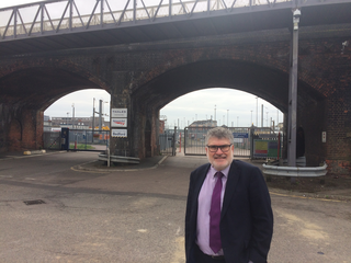 Mayor Dave Hodgson in front of Ford End Rd Bridge, Bedford