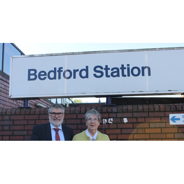 Mayor Dave Hodgson and Cllr Wendy Rider at Bedford Midland railway station