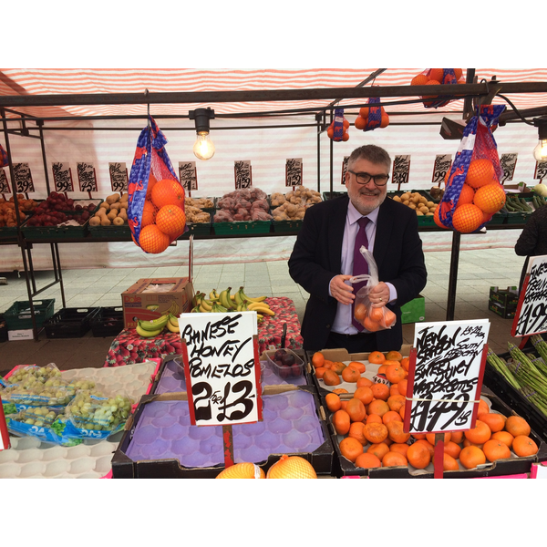 Mayor Dave Hodgson at a market stall