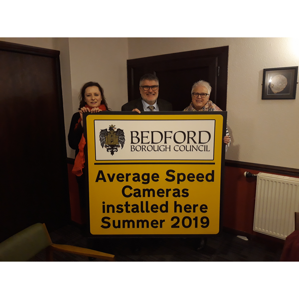Mayor Dave Hodgson at Colmworth Parish Council with Average Speed Camera Sign