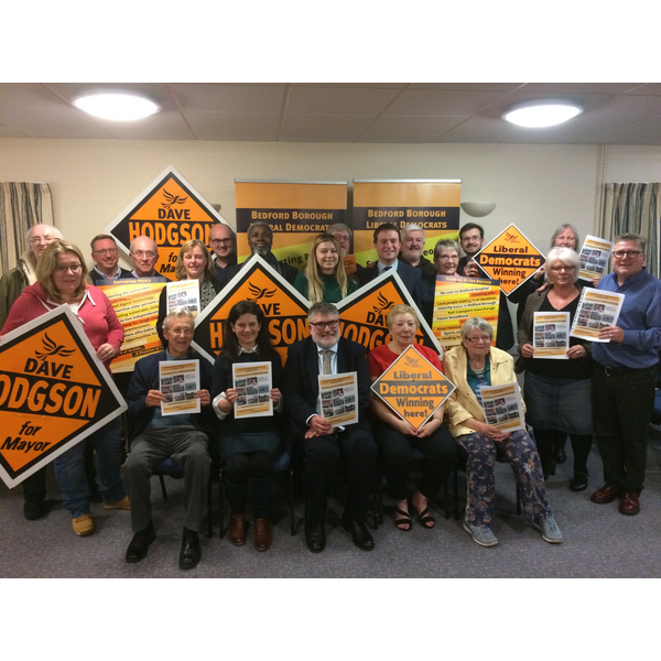 Mayor Dave Hodgson, Cllr Bridget Smith and Bedford Borough Lib Dems at the 2019 Manifesto Launch