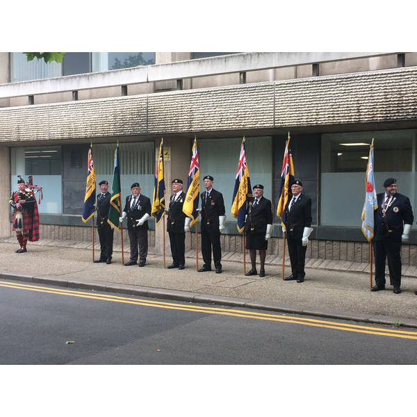 Standard Bearers at Armed Forces Day 2019 Flag Raising at Borough Hall in Bedford