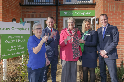 Left to Right - Isobel Barford, Chad Goldsmith, Cllr Wendy Rider, Brooke Amos and James Luton at the Opening of Oakhill Place in Bedford