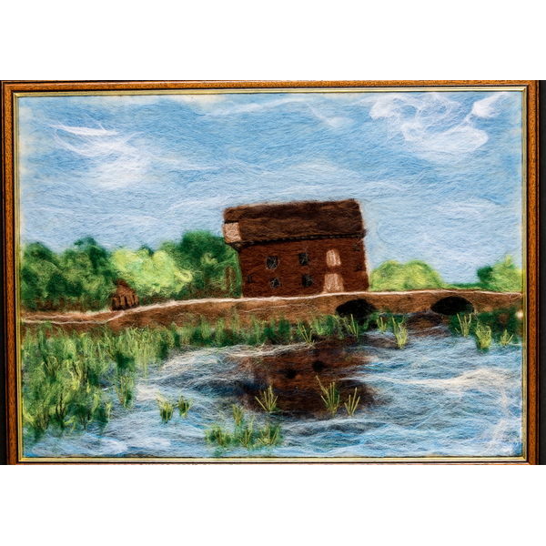 Cardington Mill: Needle felt picture of Cardington Mill by Emma Johnstone. Image courtesy of the Bedford Camera Club.