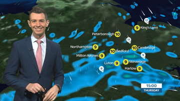 ITV Weather Map with Bedford showing