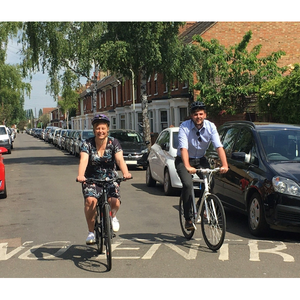 Cllr Hilde Hendrickx and Cllr Jake Sampson cycling